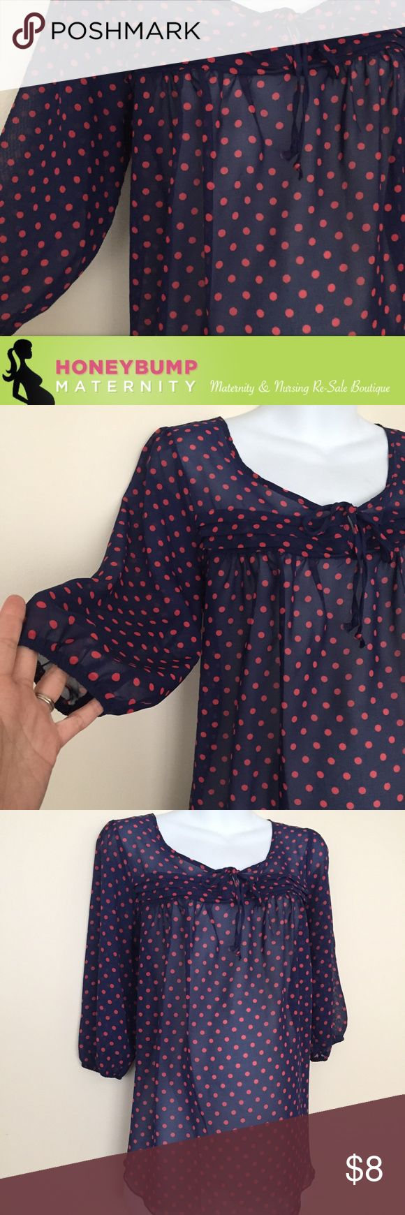 Maternity sheer top size extra large Perfect condition adorable maternity top in navy with orange like polkadots. Adorable with some shorts or skinny jeans and a Cami. Bundle for additional savings Tops