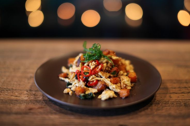THAI STYLE PUMPKIN STIRFRY     Vegetarian from the A La Carte Menu    Stir fried pumpkin with chilli, garlic, egg and basil