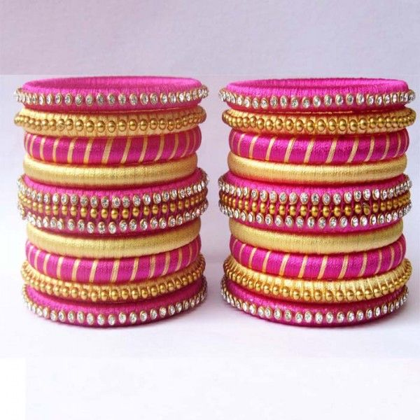 pink-n-yellow-stone-studded-silk-thread-bangles.jpg (600×600)