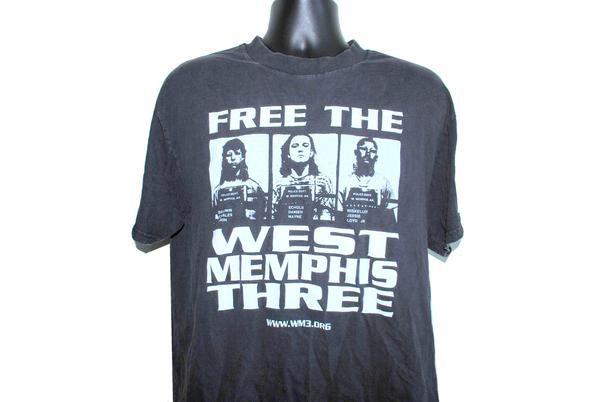 90's Free The West Memphis Three Vintage Damien Echols, Jessie Misskelley & Jason Baldwin Paradise Lost T-Shirt