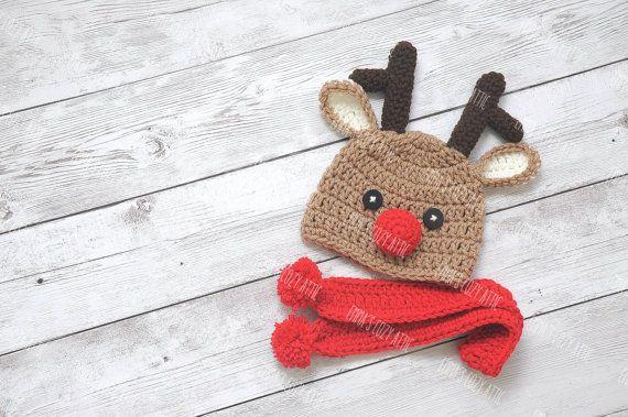 Recién nacido traje de Navidad sombrero de Reno por emmascozyattic