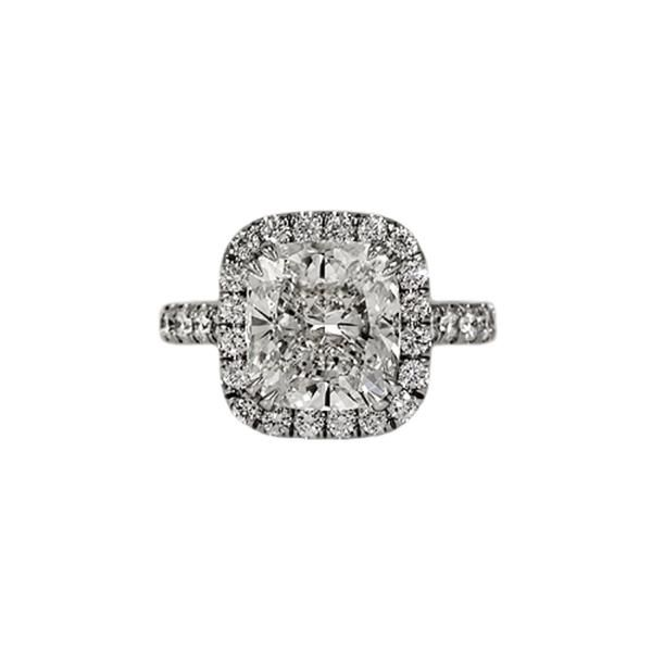 Platinum Halo-Style 5.02-Carat Cushion Cut Diamond Ring With Accents