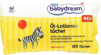 babydream,  chusteczki pielęgnacyjne z olejkami, 80 szt., nr kat. 122802