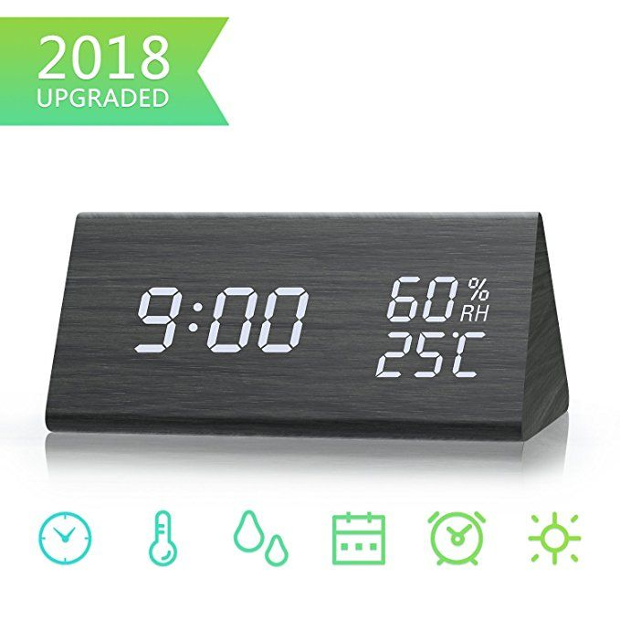 Digital Alarm Clock Dual Time 12 24 Mode Three Alarm Sets Date Led Display 3 Levels Brightness Temperatu Alarm Clock Led Alarm Clock Digital Alarm Clock
