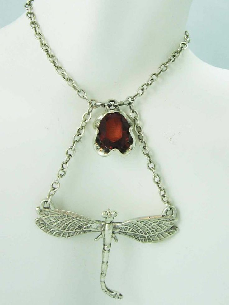 Genuine Vintage Sterling Silver DRAGONFLY Ruby Red Crystal~ GAME OF THRONES~