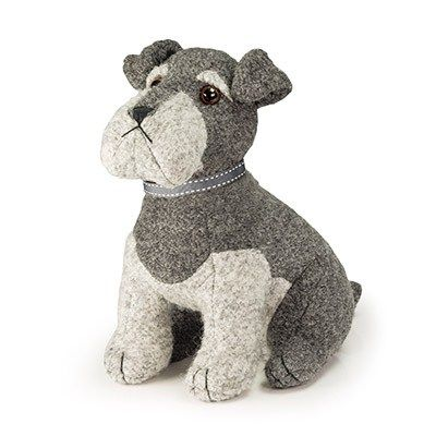 Dora Designs Sugar Bear Schnauzer Door Stop Awe just look at this little cutie, he's so adorable. Sugar Bear Schnauzer, he's as faithful as they come and will never leave your door shut! Material: Dark and light grey boucle fabric. Size: Height 27cm