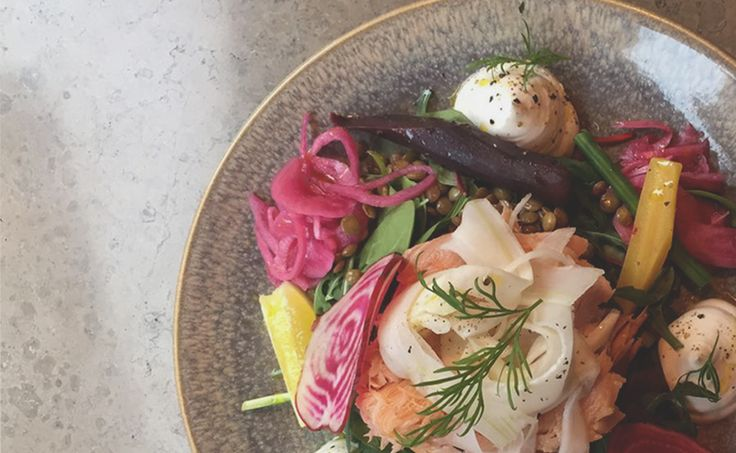 Salmon, lentals and horsradish salad. Get the recipe at girlinterrupted.dk