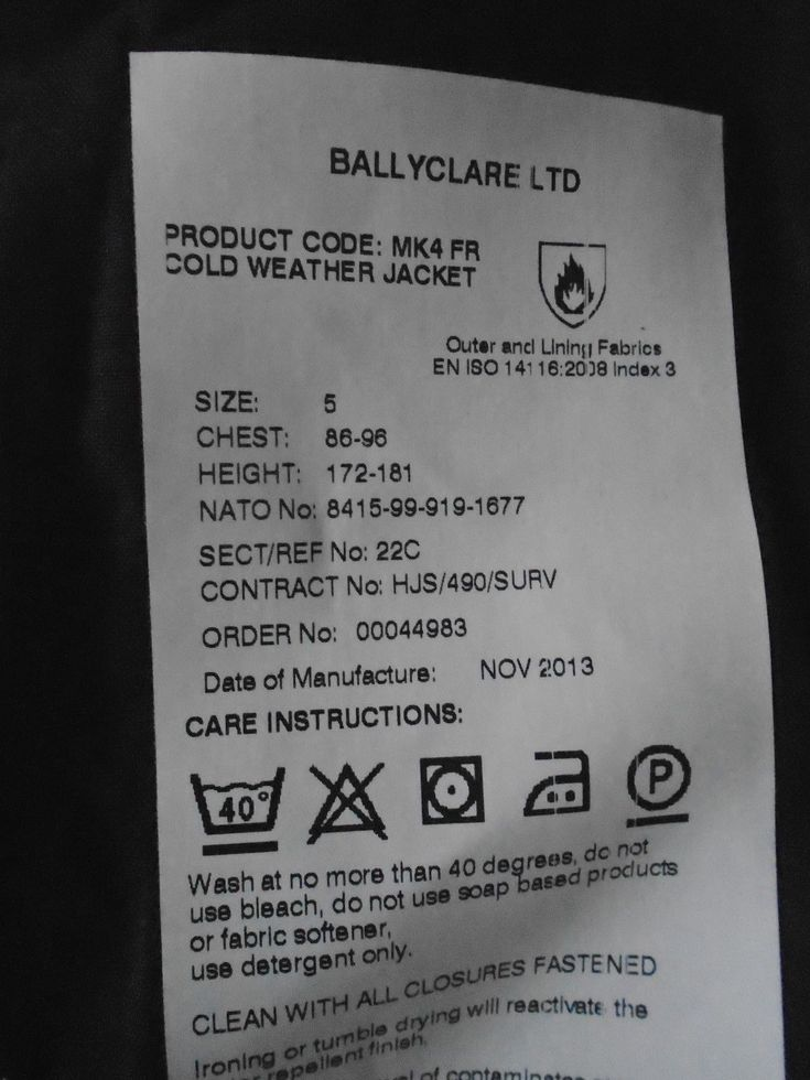 "BALLYCLARE COLD WEATHER JACKET MK4 FR SIZE 5 CHEST 86-96CM 34-38"" RAF ISSUE 