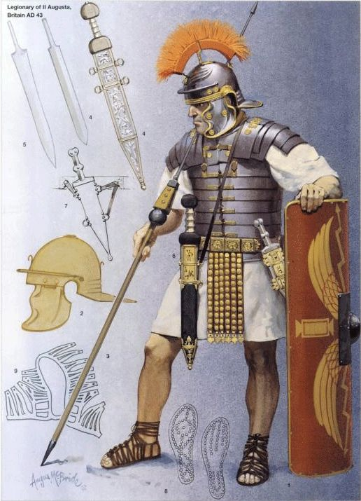 Roman legionaire at the beginning of the conquest of Britannia (43 AD). The legionaires that effected the conquest of Britannia were drawn from as far as Syria - however the bulk were recruited from Germania. -DK