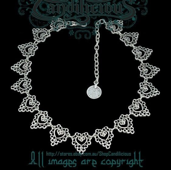Elegant Ornate Lace Style Necklace Jewellery Victorian Heart henna Mehndi silver