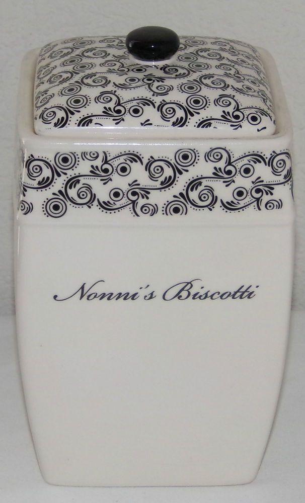 Vintage Nonni's Biscotti Jar Lidded Canister Black Cream Porcelain Mint Cond