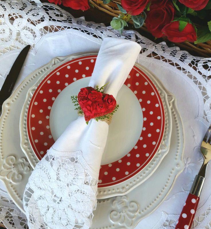 Porta guardanapo Coração de Rosas Vermelhas. Ideal para o Dia das Mães ou Dia dos Namorados. R$ 13,00 a unidade