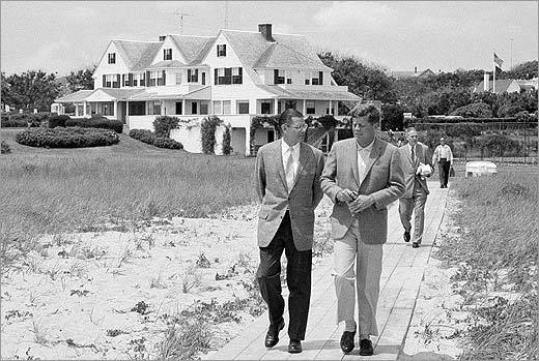 Walking in front of the Kennedy compound big house.