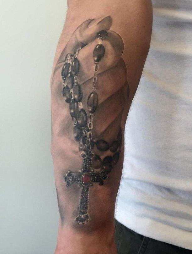 Hand Tattoo 3D Kreuz Gebetskette