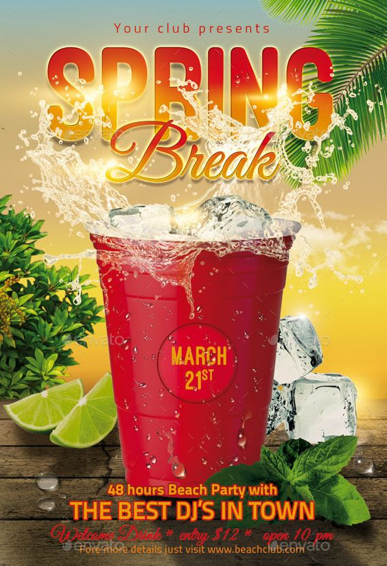 Spring Break Party Flyer Template Psd  Spring Break Party