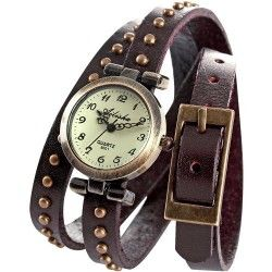 Description: - 100% brand new and high quality. - Round watch dial with arabic numerals hour indexes. - Vintage style long leather band, so you can wrap it around your wrist at least a couple of times. - Precise quartz movement for accurate time keeping. - Daily water resistance(not for showering and swimming).