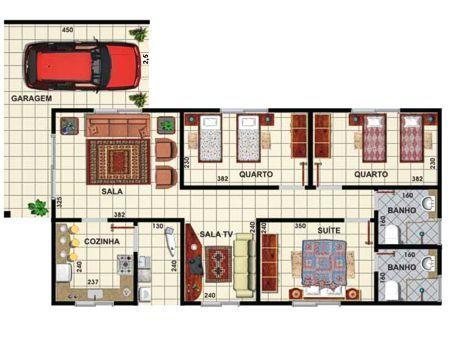 Projeto de casa simples barata com garagem