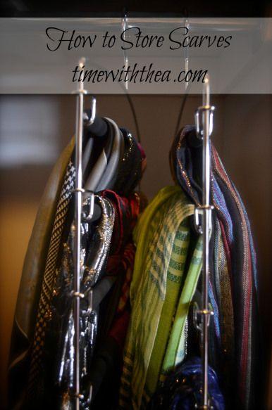 Store scarves on pants hanger.