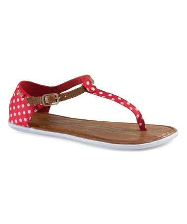 Love this Red Polka Dot Tealight T-Strap Sandal by Keds on #zulily! #zulilyfinds