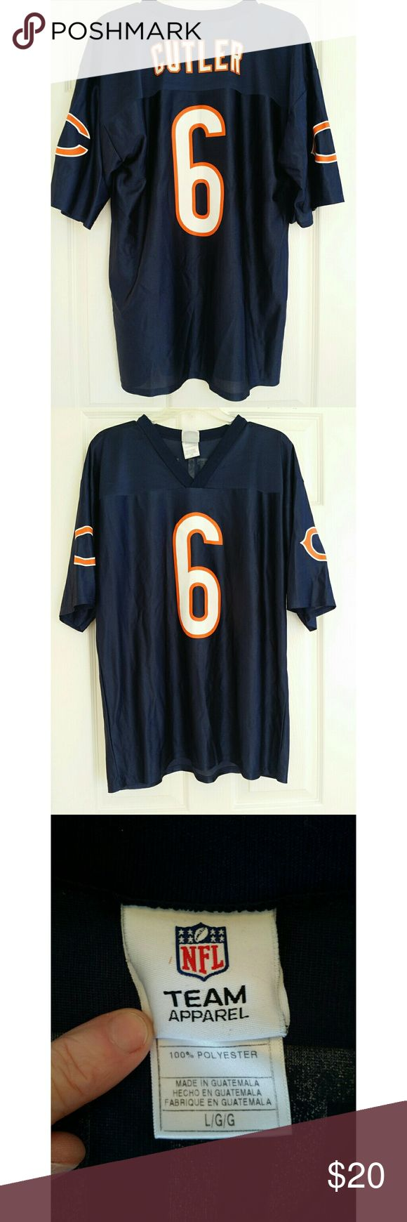 Mens Chicago Bears Jay Cutler NFL Navy Blue Large NFL Team Apparel brand Chicago Bears NFL jersey for Jay Cutler.   100% polyester machine wash Very good used condition. A couple of small snags in the front. NFL Team Apparel Shirts