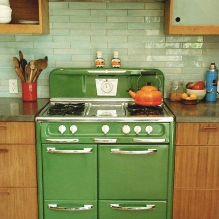 Une cuisine vintage verte