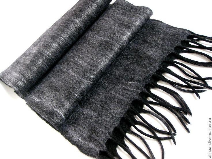 """Купить Шарф мужской валяный """"Графит"""" - серый, однотонный, шарф, шарф мужской, валяный шарф"""