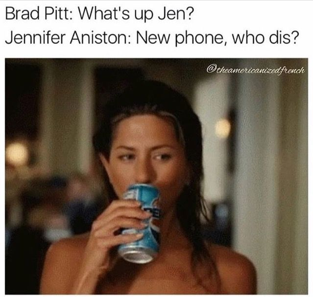 Ha!  I can't imagine that Jennifer cares one way or the other about Brad and Angelina's divorce but this is funny. :)