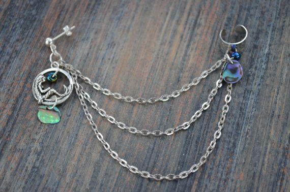 abalone mermaid  ear cuff with chains mermaid by gildedingypsy, $16.00