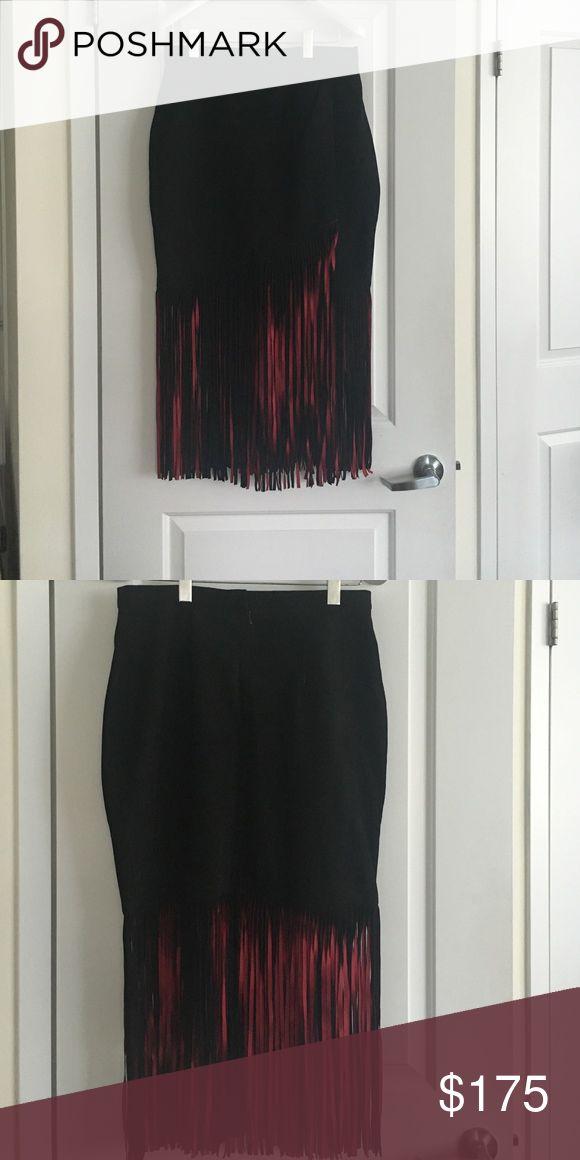 Suede fringe skirt fringe skirt with red/black fringe Tamara Mellon Skirts