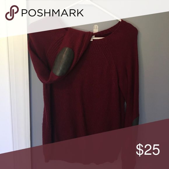 J Crew elbow patch sweater XS maroon sweater with leather elbow patch detail J Crew Sweaters Crew & Scoop Necks