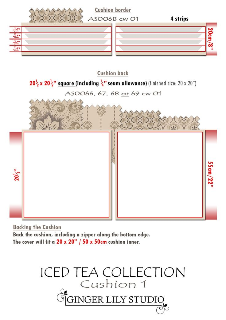 7b Iced Tea Collection Cushion cutting layout 1