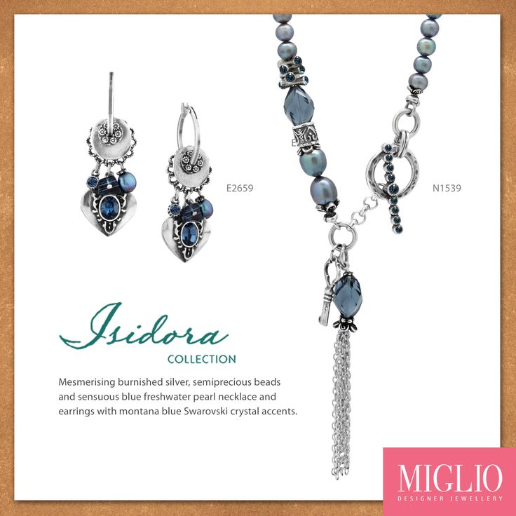Mesmerising burnished silver, semiprecious beads and sensuous blue freshwater pearl necklace and earrings with montana blue Swarovski crystal accents.