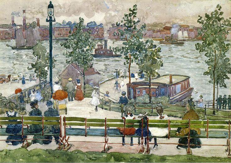 East River Park | Maurice Prendergast | oil painting #landsapes