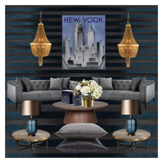 Dark Harmony by myhouse-myideas on Polyvore featuring polyvore interior interiors interior design home home decor interior decorating Eichholtz Heathfield & Co. Élitis Jayson Home Paper Whites Assouline Publishing