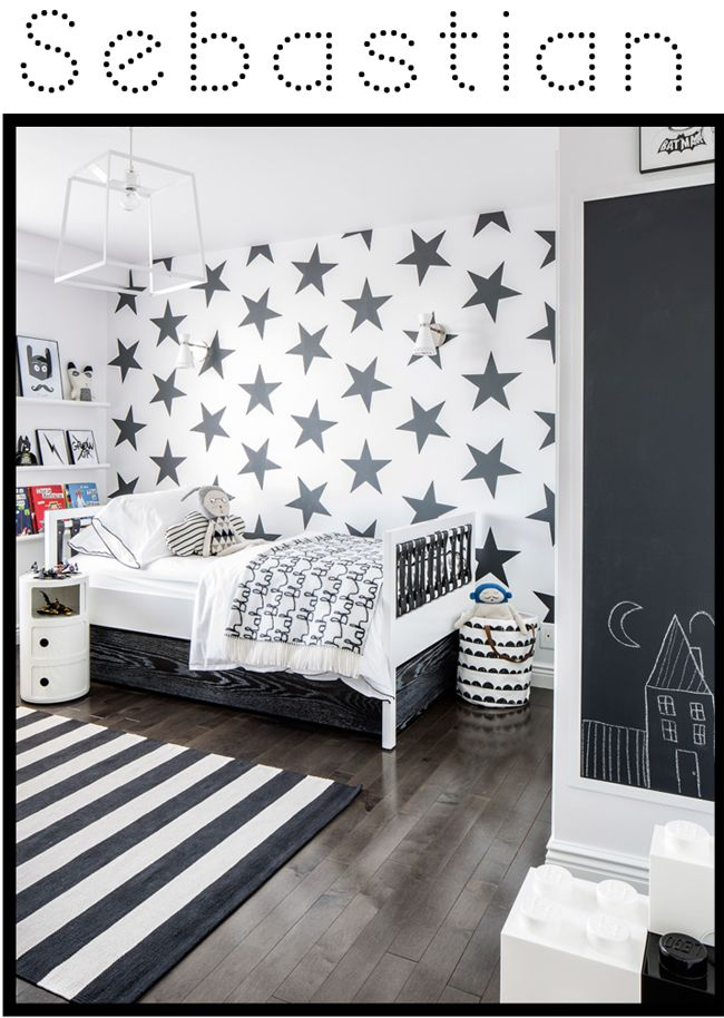 I love this grey boys bedroom. The combination of stars and stripes look fab without being to kiddie.