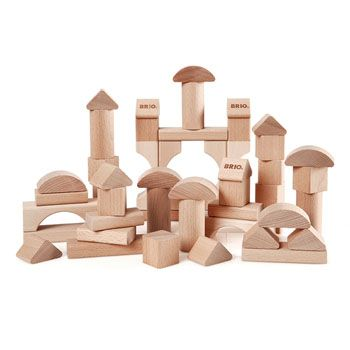 50 piece set of natural wooden building blocks, perfect for creating whatever you fancy. Includes a mix of 7 different shapes to allow a variety of constructions, or just a really tall tower for knocking over.....  Yellow Lolly - £30