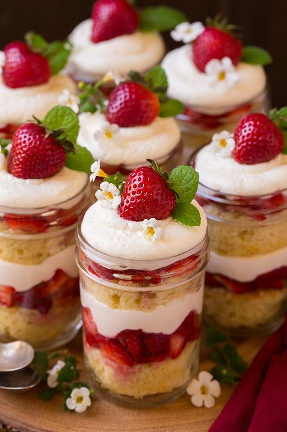 Strawberry Shortcake Trifles - Cooking Classy- increased powdered sugar in cream to 1 cup