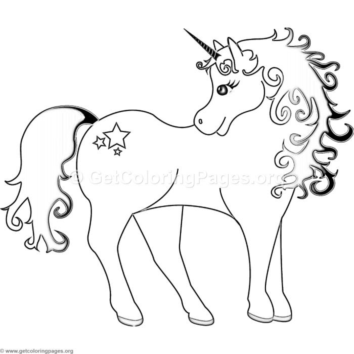 Free Instant Download Unicorn With Stars Coloring Pages Coloring