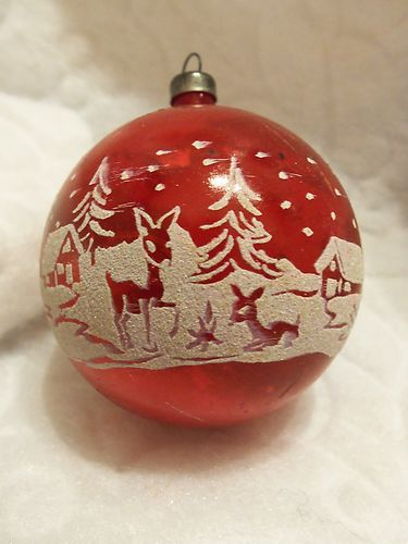 VINTAGE 40'S RARE MICA STENCILED SNOW& DEERS HOUSES TREES XMAS ORNAMENT | eBay