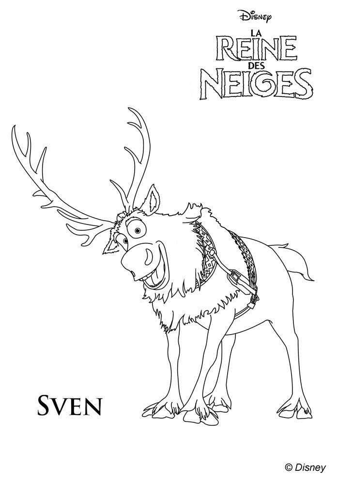 frozen coloring pages google sgning - Sven Reindeer Coloring Pages