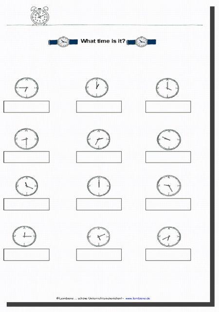 25 Arbeitsblätter Uhrzeit Englisch Bathroom