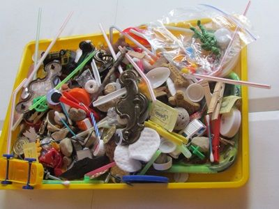 Using a collection of everyday objects to teach math.  For preschoolers, any object makes a fantastic math manipulative.