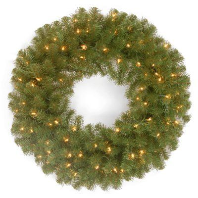 24 in. North Valley Spruce Pre-Lit Wreath - NRV7-300-24W-1