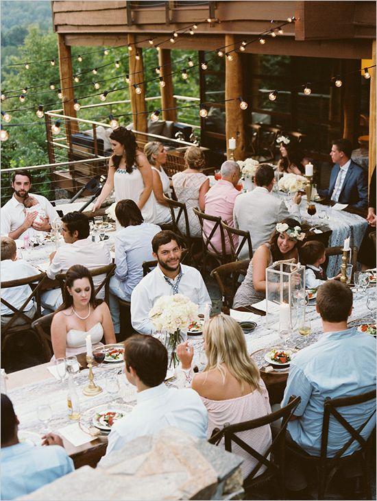 Lake Lure wedding | string lighting | open patio reception | lake wedding | #weddingchicks