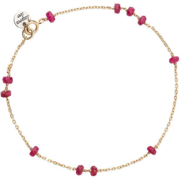 Beaded Ruby Sleeper Bracelet ($230) ❤ liked on Polyvore featuring jewelry, bracelets, ruby bangles, stackers jewelry, ruby jewellery, ruby jewelry and beading jewelry