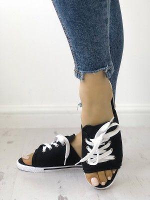 0bf0db8f3cd672 Lace-Up Open Toe Platform Slipper