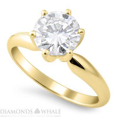 Amazing 0.4 CT D SI Enhanced Diamond Engagement Ring Round Cut 14k Yellow Gold