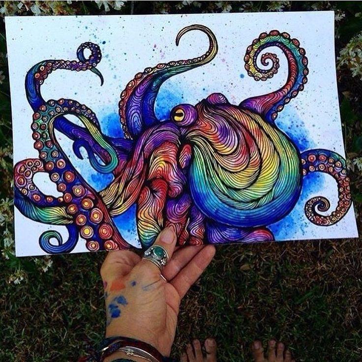 regram @art_realisme Trippy octopus painting by @salty_hippie  #rainbow #tyedye…