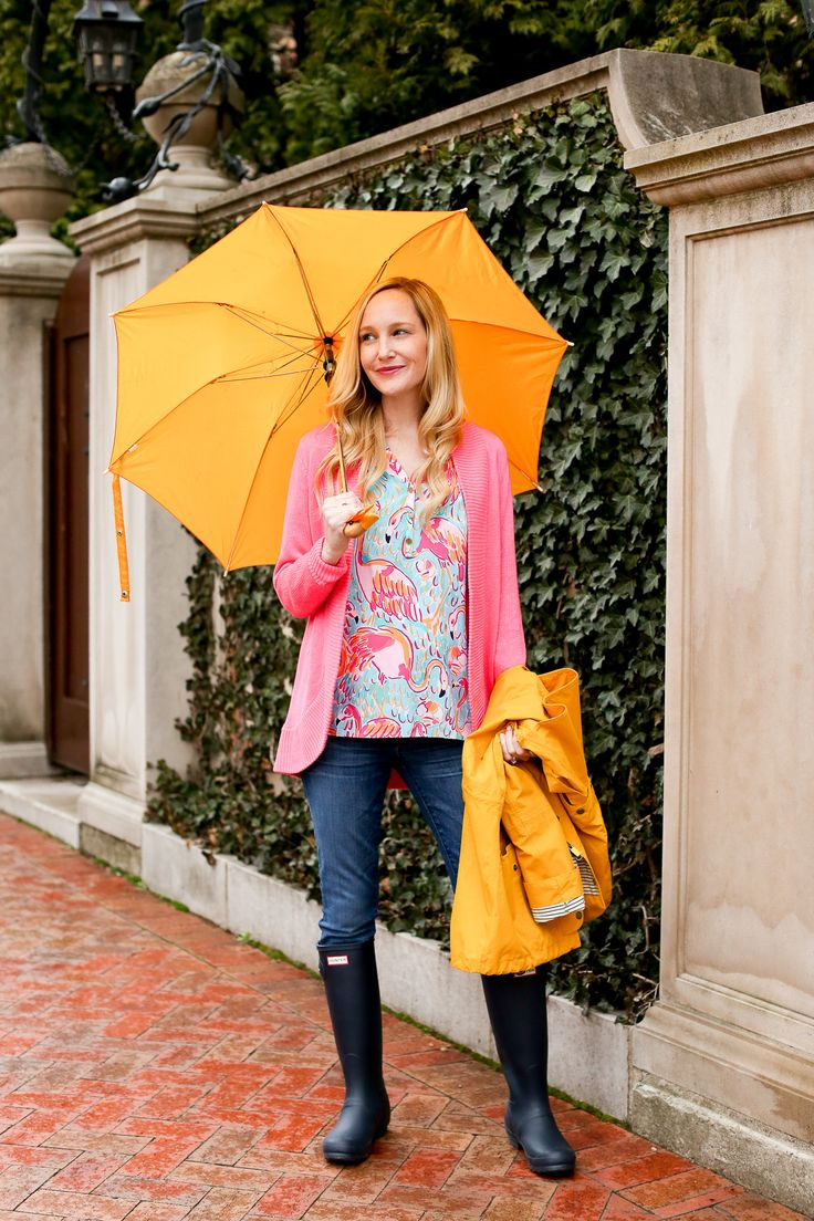 Hunter Boots and Lilly Pulitzer Top, Bracelet and Sweater / J.Crew Maternity Jeans / Duck Umbrella / Barbour Raincoat