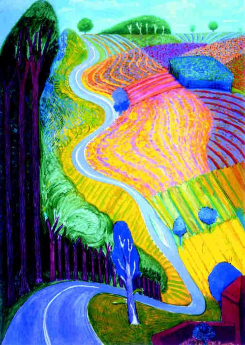David Hockney -- Going up Garrowby Hill.... interesting